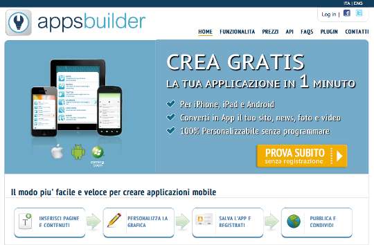 come creare un' applicazione per android e apple: apps builder
