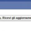 ricevi aggiornamenti facebook