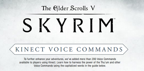 skyrim comandi vocali kinect xbox 360