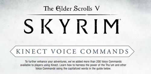 skyrim comandi vocali kinect xbox 360